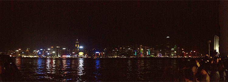 Hong Kong night harbour view