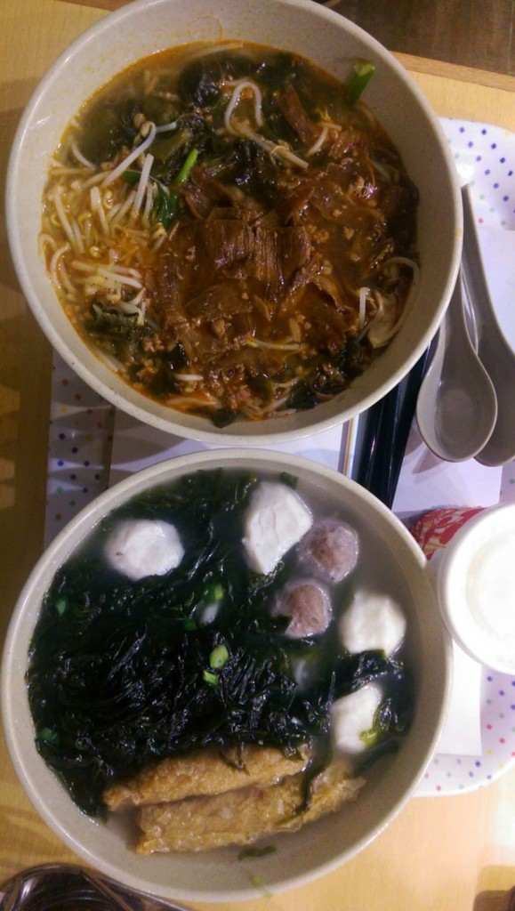 Spicy Beef Noodle & Noodles with Seaweed and Fish balls